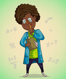 African boy scientist makes notes. Cartoon character. Vector illustration vector illustration