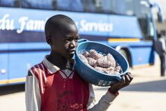 An African boy sells peanuts at the bus stop.