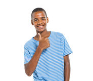 African Boy Smiling on White Background Stock Photo