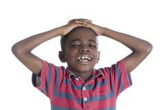 African boy in stress. Studio Shot Royalty Free Stock Photo