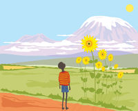African boy with sunflower Stock Photos