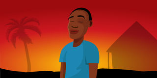 African Boy Sunset Village Royalty Free Stock Images