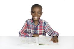 African Boy with Text Book Royalty Free Stock Photos