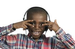 Free African Boy With Headphones Listening To Music Stock Photography - 35873242