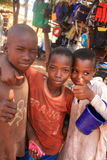 African boys. Three young african boys smiling at the camera royalty free stock photo