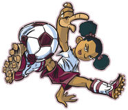 African break dancing soccer girl. Vector clip art cartoon of an african girl using a break dancing move to play soccer. Also available in caucasian and asian royalty free illustration