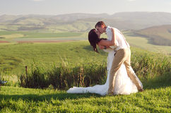 African bride and groom landscape stock image