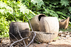 An African Broken Clay Pot. African broken clay pots found in a village in Nigeria Stock Photo