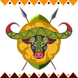 African Buffalo. Africa's animal in color pattern vector illustration. Royalty Free Stock Photos