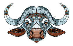 African buffalo head zentangle stylized, vector, illustration, f Royalty Free Stock Images