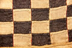 African Burlap texture rough pattern and touch. Traditional African burlap textile pattern stock photo