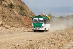 African bus. Along the road from Arba Minch to Dorze, Ethiopia Royalty Free Stock Image