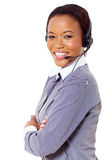 African business call center. Attractive african business call center operator Stock Photos