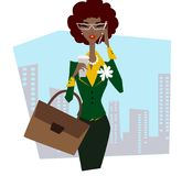 Business lady in glasses with briefcase in the street talking on the phone. Drinks cofee. African business lady in glasses with briefcase in the street talking Royalty Free Stock Photos