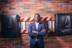 African business man with crossed arms royalty free stock images