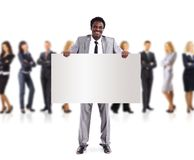 African business man and group holding a banner. Ad, full length portrait isolated on white background Royalty Free Stock Photos
