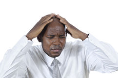 African business man has headache Stock Images