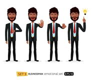 African business man showing stop gesture with hand motivation vector flat cartoon illustration EPS 10. African business man showing stop gesture with hand Royalty Free Stock Photo