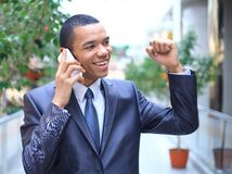 African business man talking on the phone Royalty Free Stock Photography