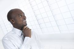 African business man thinking in office Stock Image