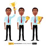 African business man winner success excited smiling male raising. Trophy prize, medal and certificate concept cartoon isolated on white background Royalty Free Stock Photos