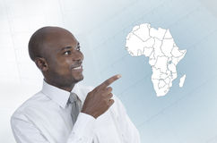 African business man working in virtual environment Royalty Free Stock Photos