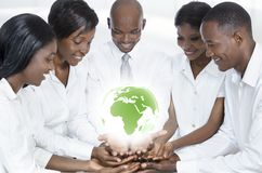 African business team with map of africa. Studio Shot Royalty Free Stock Photography