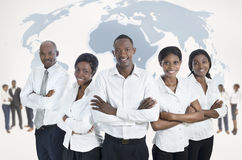 African business team with world map. Studio Shot Royalty Free Stock Image