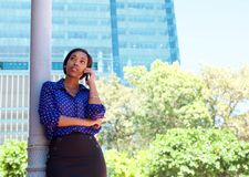 African business woman calling by mobile phone Royalty Free Stock Photo