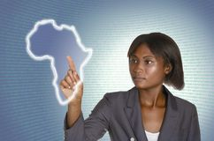 African business woman digital IT background. Studio shot Stock Images