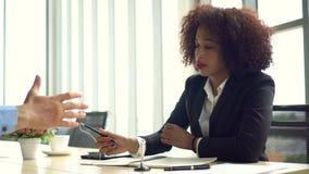 African business woman hand shake partnership deal