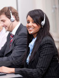 African business woman with headset callcenter Stock Images