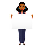 African business woman holding sign or banner on white royalty free stock image