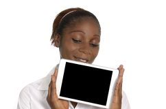 African Business Woman with Tablet PC, Free Copy Space Royalty Free Stock Photography