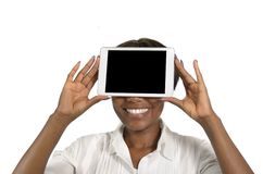 African Business Woman with Tablet PC, Free Copy Space Royalty Free Stock Photo
