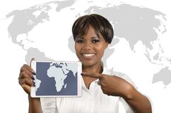 African Business Woman with Tablet. Studio Shot Stock Image