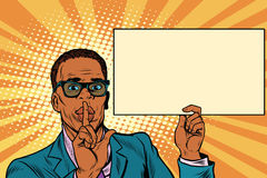 African businessman asking for silence, Billboard poster. Pop art retro vector illustration Royalty Free Stock Photo