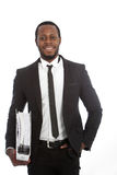 African businessman carrying a file Royalty Free Stock Photo