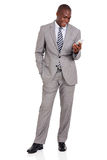 African businessman cell phone Royalty Free Stock Image