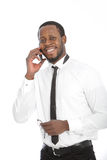 African businessman chatting on his mobile Royalty Free Stock Photos