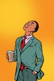 African businessman drinking coffee and looking up. Pop art retro comics cartoon vector illustration kitsch drawing Royalty Free Stock Photos