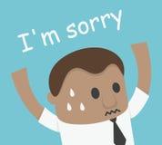 African Businessman hand up shock and says i am sorry illustration. Eps.10 stock illustration