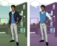 African Businessman in office interior. Businessman of African ethnicity in office interior scene with detailed background vector illustrations variation set Stock Image