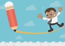 African businessman Risk Management Defined Being and death by. Own path eps . 10 vector illustration