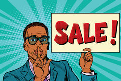 African businessman, the secret sale. Pop art retro vector illustration Stock Images