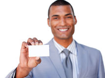 African businessman showing a white card royalty free stock photography