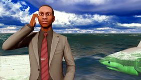 African businessman surrounded by sharks Stock Photography