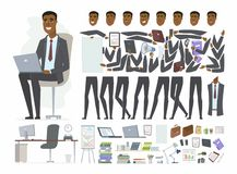 African businessman - vector cartoon people character constructor. Isolated on white background. Set of body parts, face expressions for animation. Different stock illustration