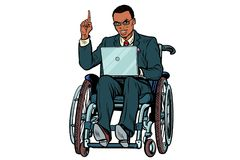 African businessman in wheelchair isolated on white background vector illustration