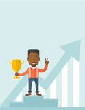 African businessman on winning podium Stock Photos